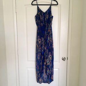 Lush blue print high low maxi dress